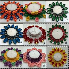 Trupti's Craft: Paper Quilling Candle Holders / Car Hanging / Wall Hanging / Photo Holders