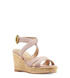 Your must-have wedge of the season is here: Meet the ZUZU. These sandals offer the style-elevating qualities of the timeless warm-weather silhouette, plus their mid-height woven rope sole offers 24/7 style and comfort. Let these fashion-meets-function essentials take your wardrobe to new heights effortlessly when worn a floaty dress and beaded bag or a linen top and sleek high-waisted shorts. Floaty Dress, Spring Shoes, High Waisted Shorts, Warm Weather, Suede Leather, Stuart Weitzman, Designer Shoes, Wedges, Spanish Wedding