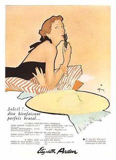 Rene Gruau  vintage ad for Elizabeth Arden 1950