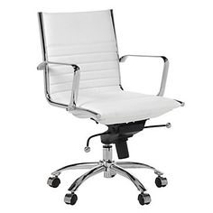$259.00 Z Gallerie - Malcolm Office Chair - White. No bar on the back of this one. The one I originally saw in the store had a bar.
