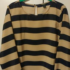 JCREW POPover top Navy and tan stripe top.  Darts on chest area.  3/4 length sleeve. Threads loose at shoulder can easily be repaired.  Small stain on front as pictured. J. Crew Tops Blouses