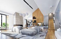 Projekt domu Wyjątkowy 2 - 201.09 m2 - koszt budowy 361 tys. zł Contemporary, Modern, Planer, Bungalow, Sweet Home, House Design, Patio, Living Room, Interior