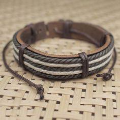 Male Fashion Mens Bracelets Five Wax Ropes Handmade Leather Bracelet Brown Color