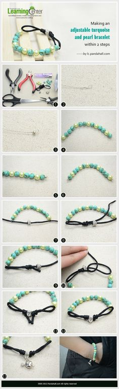 Tutorial :: Making an adjustable turquoise & pearl bracelet - simple & fast   #handmade #jewelry
