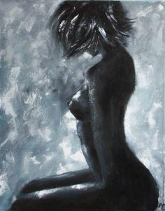 """Купить Картина маслом """"Силуэт"""" - девушка, картина для интерьера, картина, Живопись, живопись маслом, мастихин"""