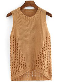 Shop High Low Hollow Sweater Vest at ROMWE, discover more fashion styles online. Knitwear Fashion, Crochet Fashion, Silk T Shirt, Summer Knitting, Sweater Knitting Patterns, Crochet Top, Ideias Fashion, Young Fashion, Sweaters