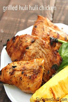 Grilled Huli Huli Chicken on SixSistersStuff.com is perfect for dinner tonight.