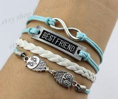 Best friend two owls infinite & bracelet with blue rope woven fashion bracelet with white leather fashion bracelet charm bracelet-Q486