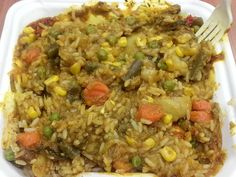 Eggplant, Potatoes, Carrots, Green Beans, Corn and Peas on Steamed Rice with Curry Sauce. -$8 Steamed Rice, Fried Rice, Curry Sauce, Rice Dishes, Eggplant, Green Beans, Carrots, Fries, Potatoes