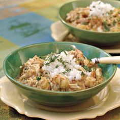 Crab-and-Shrimp Étouffée | Cajun comfort food at its best. The thick, spicy mixture of crawfish, shrimp, or crab (or a combination of these) with onions and peppers is cooked in a light gravy and then served with rice.