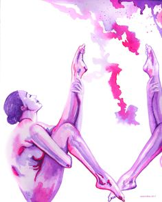 """Pretty in Pink"" by Jasleni Figure Drawing, Pretty In Pink, Pink Purple, Watercolor, Drawings, Prints, Art, Sketches, Art Background"