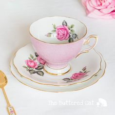 Lovely vintage pink tea trio with bright pink roses