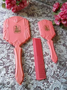 Vintage Pink  Celluloid  Vanity Hand Mirror , Hair Brush and Comb Set