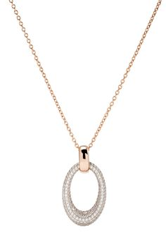 Bronzallure 18ct rose gold-plated pavé cubic zirconia oval pendant | Fraser Hart Jewellers
