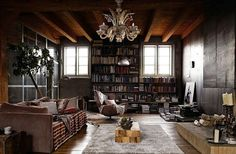 love the chandelier and all the books