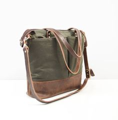 Khaki green waxed canvas and Dark Brown leather by ForestBags