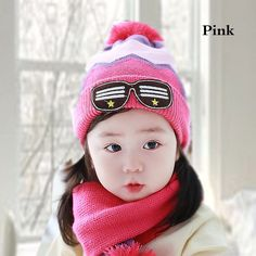 Patch glasses knitting hat for kids winter beanie hat and scarf set cheap sale