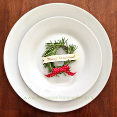 So sweet. Tiny rosemary wreath place card. #placecard