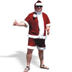 Christmas in July Adult Santa Claus Suit Costume Pub Crawl Fancy Dress Party
