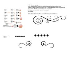 Practice sheets for cake decorating - piping, scroll work, dots, writing.  Pastry bag practice for students with frosting or icing.