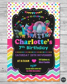 TROLLS PARTY SUPPLIES INVITATIONS INVITE PERSONALISED BIRTHDAY BOYS GIRLS PHOTO #PersonalisedInvitations #Birthday