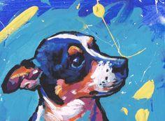 Tricolor Rat Terrier dog pop art print  of painting bright colors 13x19
