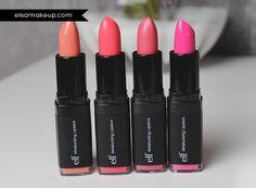 Party in the buff (#82631), Pink Minx (#82633), Coral Cutie (#82634), Flirty & Fabulous (#82636) http://www.eyeslipsface.fr/produit-beaute/rouge-a-levres-hydratant-studio