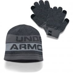 Under Armour handschoenen en beanie junior black