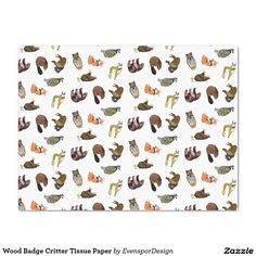 Shop Wood Badge Critter Tissue Paper created by EvensporDesign. Wood Badge, Tissue Paper, Small Gifts, Party Favors, Cool Designs, Photo Wall, Wraps, Presents, Gift Wrapping