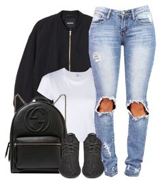 """"""":)"""" by justice-ellis ❤ liked on Polyvore featuring Monki, RE/DONE, Gucci and adidas Originals"""