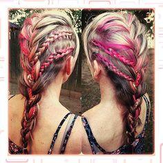 #hair #braids #braidedhairstyle #hairstyle #blonde #pinkpeekaboos #loveit #healthyhair #olaplex #myscconnection #hairstylist #fresnostylist #imallaboutdahair  #hairstylebyjopresly #hairbyjopresly