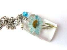 Real+Daisy+Necklace++Real+Blue+Daisy+Encased+in+by+ScrappinCop,+$12.00