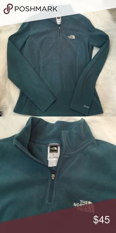 North face teal zip up Like new...no flaws North Face Tops