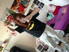 How I were dressed to the concert! Batman cap and t-shirt and sweatpants with print love all over it ❤