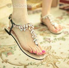 Popular Black Summer Cowhide Upper Flat Heels Fashion Sandals for Girls : Tidebuy.com