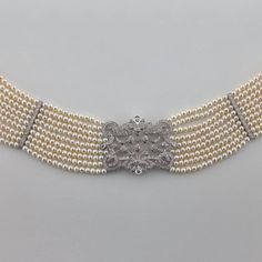 Pearl Diamond Gold Choker Necklace | From a unique collection of vintage choker necklaces at https://www.1stdibs.com/jewelry/necklaces/choker-necklaces/