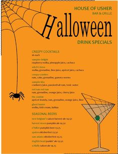 A spooky spider drops down from its cobweb set against a bright pumpkin orange backdrop. A martini glass sports an olive on a toothpick and a spiderweb. Drink or food specials stretch down the center of the page, accented with green menu headers. Update this holiday menu online using the Menu Editor. Find more printable menu and flyer templates at http://www.MustHaveMenus.com.  #halloween #menu #drinkmenu #restaurant #bar #orange #spiderweb #cocktail #template #design #diy #MustHaveMenus