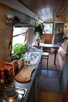 Ford camper van interior tiny house 50 The Effective Pictures We Offer You About hippie home decor A Canal Boat Interior, Yacht Interior, Narrowboat Interiors, House Boat Interiors, Narrowboat Kitchen, Canal Barge, Houseboat Living, Houseboat Ideas, Campervan Interior