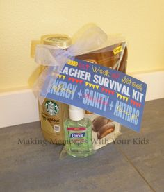First week of school teacher survival kit - great back to school teacher gift - with free printable