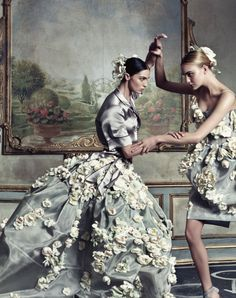 Dolce  Gabbana, Spring 2009 photographer: Steven Klein Mariacarla Boscono, Caroline Trentini epic gray, floral, classic styleregistry: Dolce  Gabbana | Spring 2009 Year in Review | Spring/Summer 2009 Ad Campaigns