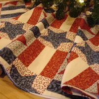 Americana Christmas Tree Skirt, Country Christmas Tree Skirt, Red White Blue Tree Skirt, Stars and Stripes