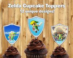 Printable Legend of Zelda Cupcake Toppers -Download Print Legend of Zelda Cake Toppers Legend of Zelda Birthday Decoration Zelda Wind Waker by InstantBirthday on Etsy