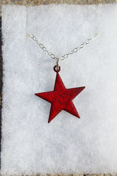 Reversible Blue and Red Enamel Star Necklace One by iamrachelshop