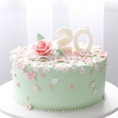 Spring themed cake with fondant numbers