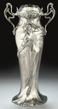 WMF | A SILVERED-METAL AND GLASS TWIN-HANDLED VASE, CIRCA 1900