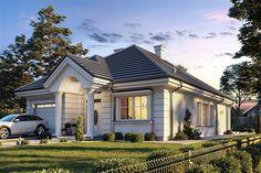 Willa Parkowa 6 on Behance Flat House Design, Village House Design, Village Houses, Modern Bungalow House, Duplex House, House Layout Plans, House Layouts, Philippines House Design, One Storey House