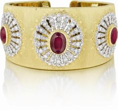 Buccellati gold cuff with diamonds and rubies. Yes, please.