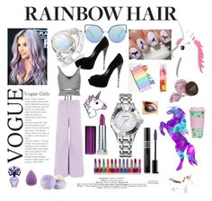 """""""Rainbow Hair"""" by anabelisstyle ❤ liked on Polyvore featuring beauty, Casadei, Alexander Wang, Warehouse, Maybelline, Swarovski, Matthew Williamson, BCBGMAXAZRIA, Christian Dior and Rare London"""