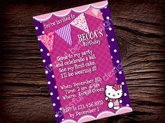 Kitty Birthday Invitation by BlissfulBethDesigns on Etsy, $11.00