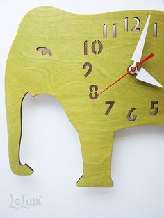 The Big Lime Green Elephant designer wall mounted clock by LeLuni, $48.00 Elephant Love, Elephant Party, Wooden Elephant, Cute Clock, Wooden Clock, Kid Spaces, Pet Birds, Playroom, Kids Room